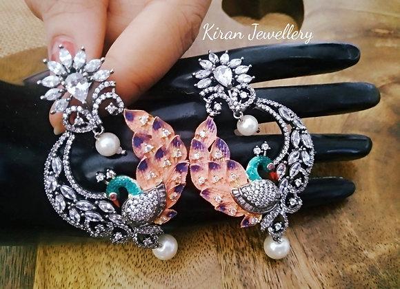 Peacock Meenakari Earrings