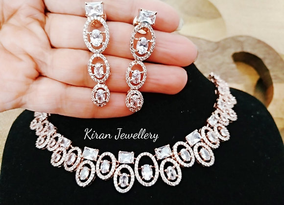 Rose gold Polish Elegant AD Necklace