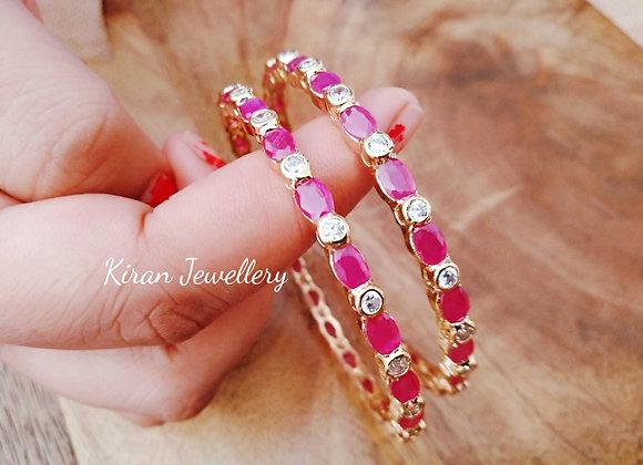 Sleek Elegant Ruby Bangles