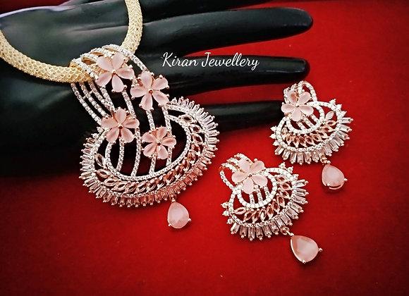 Pink Color Elegant Pendant Set
