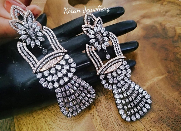 Black Polish Long Earrings
