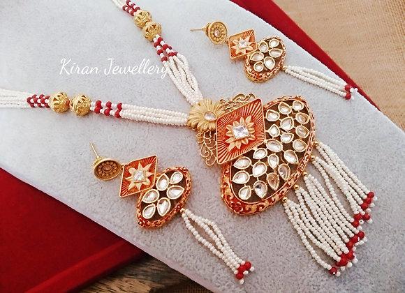 Ruby Meena Pearl Mala Set