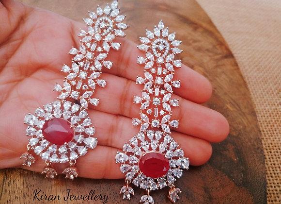 Ruby Color Diamond Look Earrings