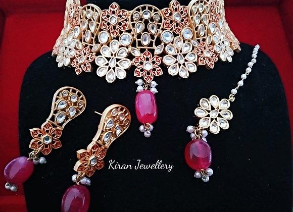 Ruby Meena Choker Kundan Set