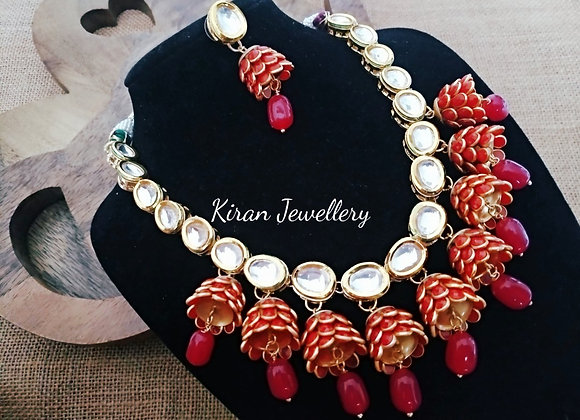 Red Kundan Necklace Set