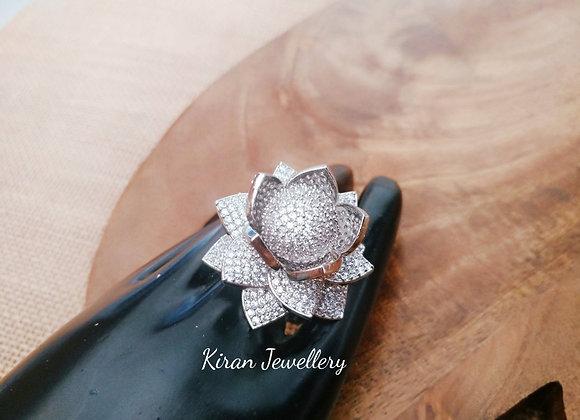 Silver Polish Rose Ring