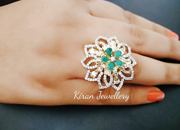 Green Flower Shaped Ring