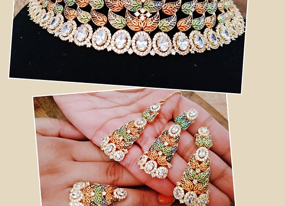 Necklace Combo With Earrings Mangtikka and Ring