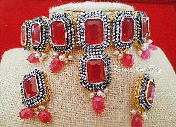 Ruby Color Choker Set