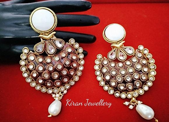 Beautiful Earrings With Meena Work