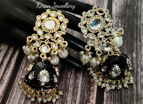 Black Meena Kundan Earrings