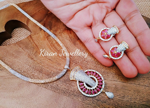 Ruby Stone Silver and Gold Polish Fusion Pendant With Chain