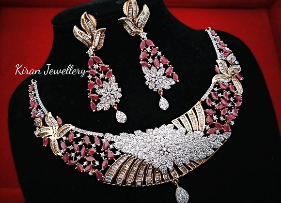 Ruby Color Royal Look Necklace