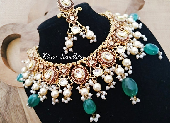 Green Moti Kundan Antique Set