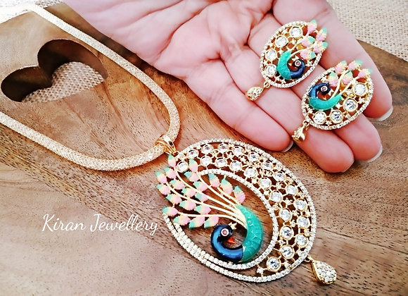 Peacock Pendant Set With Chain
