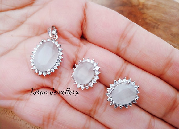 Grey Stone Pendant Set