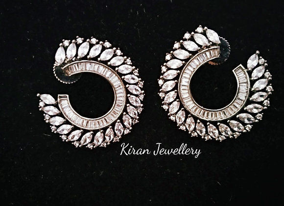 Oxidized Polish AD Earrings