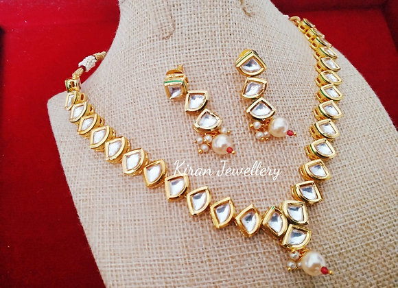 Diamond Cut Kundan Necklace