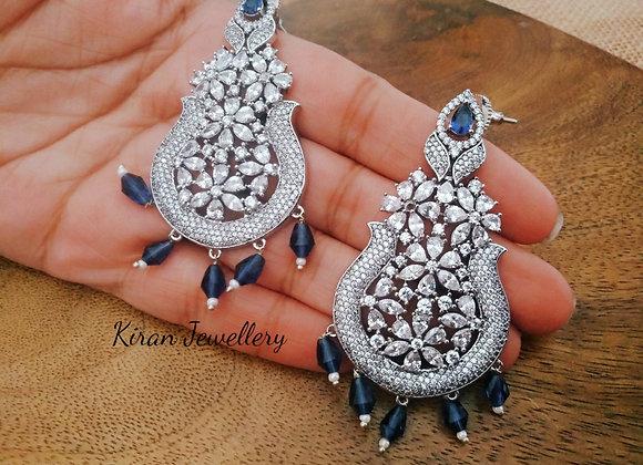 White Polish Blue Stone Earrings