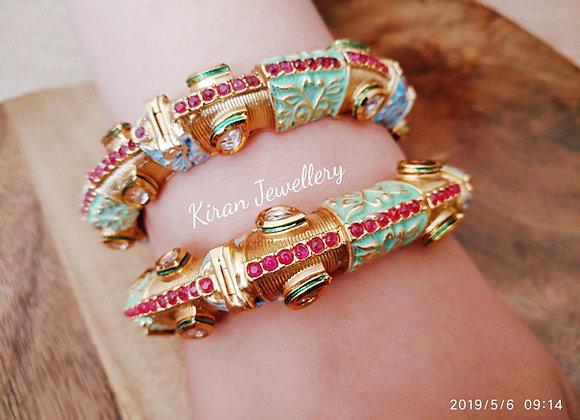 Multicolored Meena Kundan Bangles