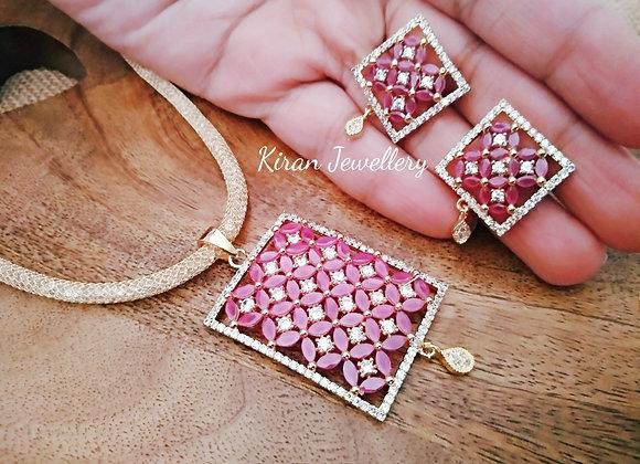 Ruby Color Elegant Pendant Set