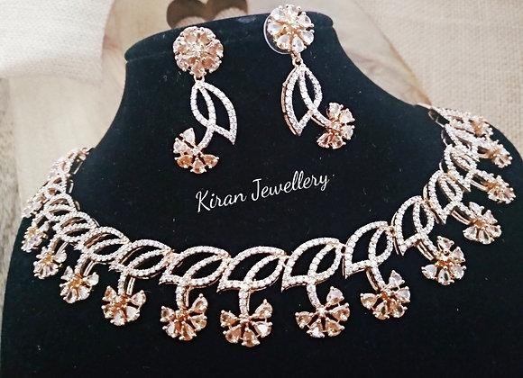 Champagne Color RoseGold Polish Necklace Set