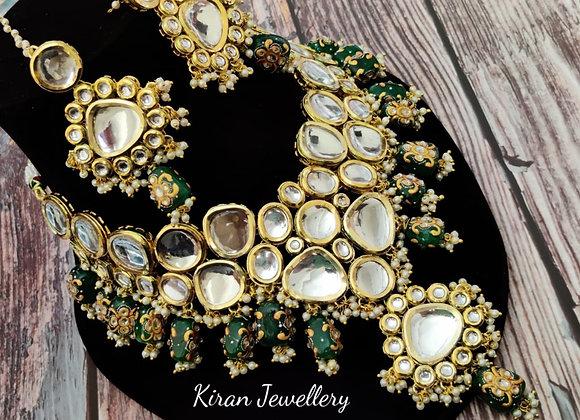 Pre-Bridal Green Stone Kundan Necklace