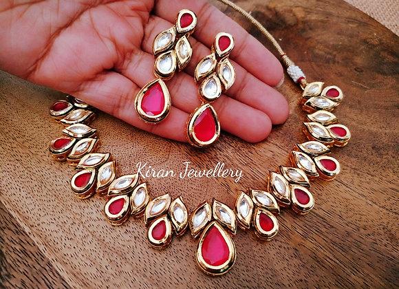 Elegant Look Ruby Color Kundan Necklace