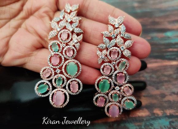 Mint-Pink Stylish Earrings