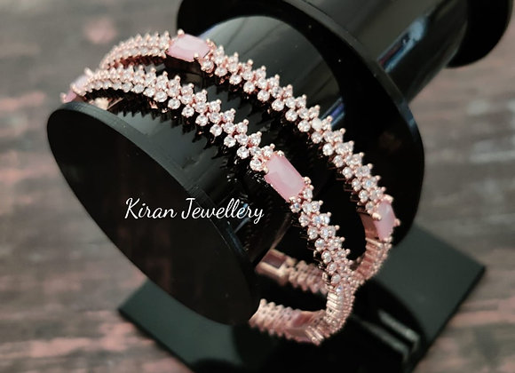 Elegant Pink Stone Bangles