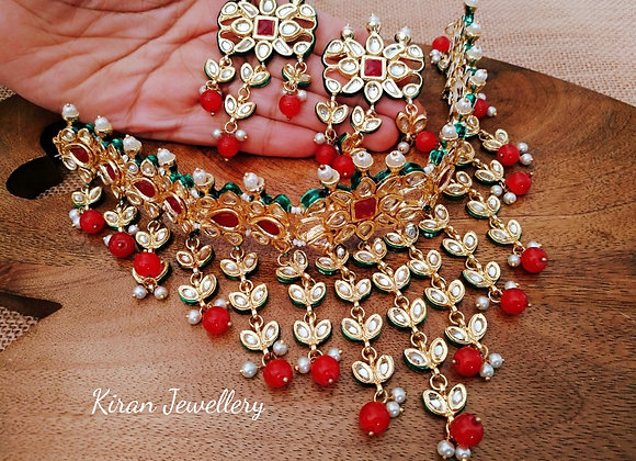 Ruby Color Kundan Choker Set