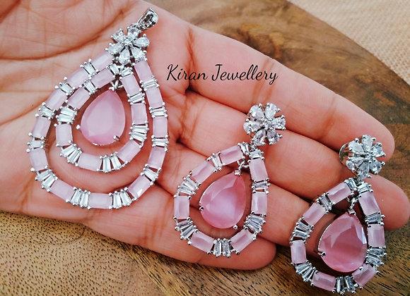 Pink Color Stylish Pendant Set