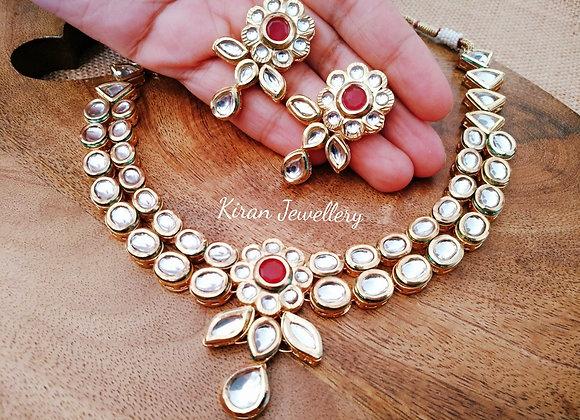 Ruby Stone Kundan Necklace Set