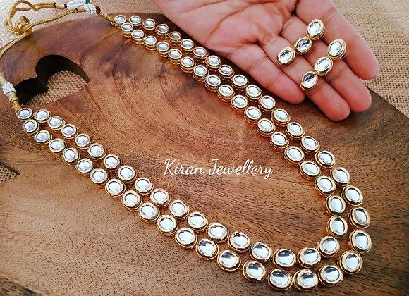 Double line Long Kundan Necklace Set
