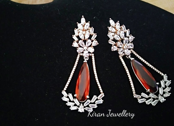 Elegant Ruby Color Earrings