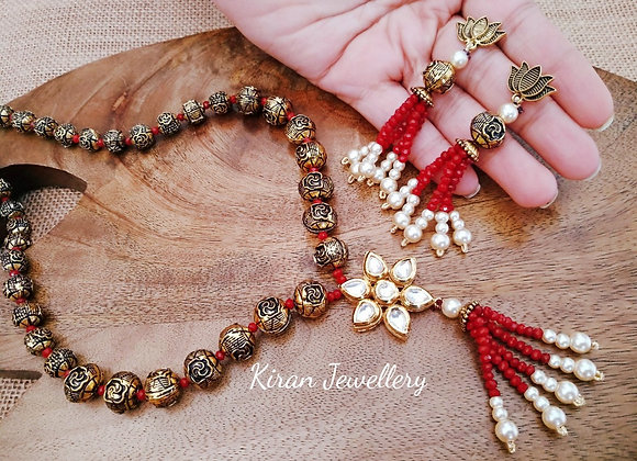Beautiful White And Red Pearl Mala Set