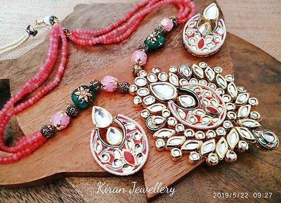 Kundan necklace with pink meena