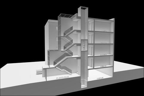 Sección Vertical para Análisis de Cerramiento de Escaleras