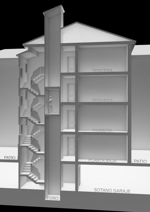 Sección Vertical para Análisis de Ascensor y Escaleras