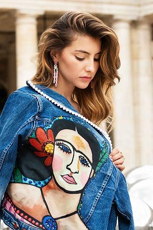 Veste en jean Frida Kahlo