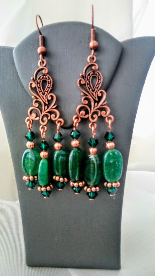 Green aventurine and swarovski crystal chandelier earrings home beautiful emerald green aventurine and authentic swarovski crystal chandelier earrings earring hooks are solid copper length is 3 inches including earring mozeypictures Choice Image