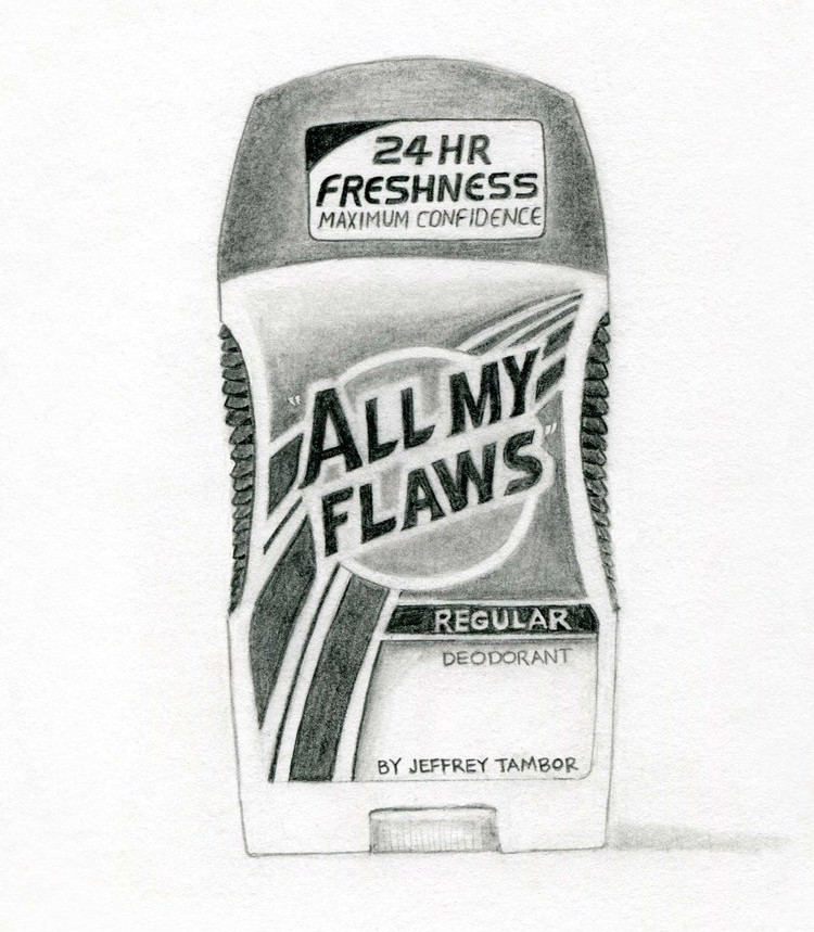 """""""All My Flaws"""" Regular Deodorant by Jeffrey Tambor, Actor (Speed Stick); 2017; artwork by Karen Mainenti; graphite on paper; 7.75x7.75 inches"""