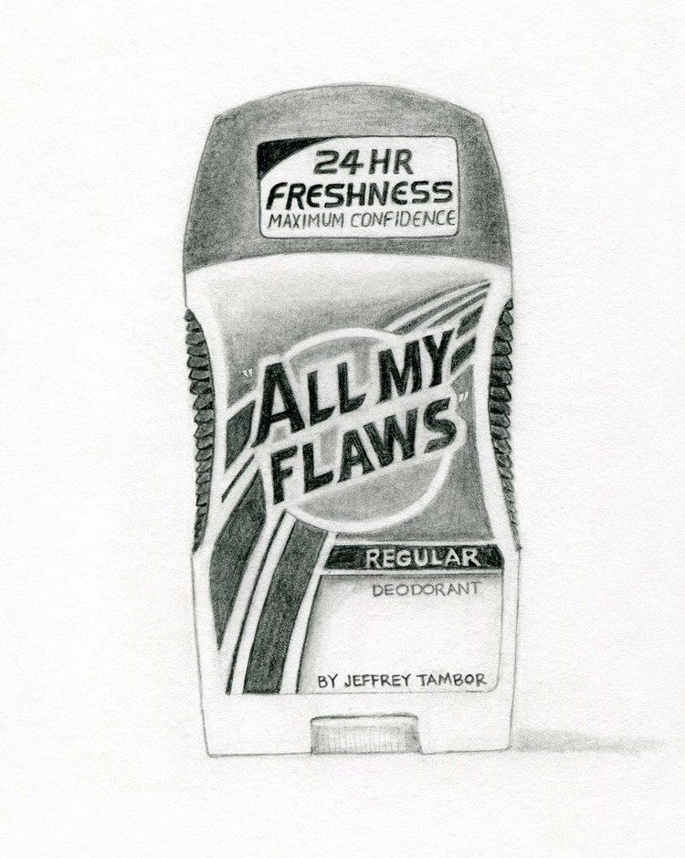 """All My Flaws"" Regular Deodorant by Jeffrey Tambor, Actor (Speed Stick); 2017; artwork by Karen Mainenti; graphite on paper; 7.75x7.75 inches"