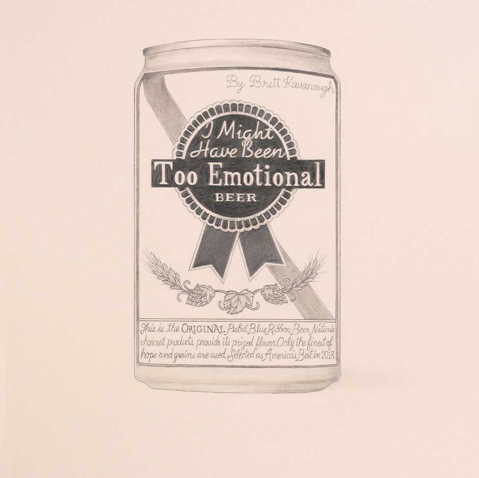 """""""I Might Have Been Too Emotional"""" Beer by Brett Kavanaugh, U.S. Supreme Court Justice (Pabst Blue Ribbon); 2018; artwork by Karen Mainenti; graphite on paper; 25.5x19 inches"""
