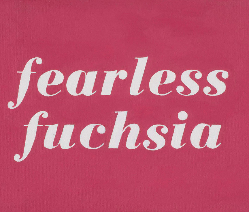 L'Oreal No.145: Fearless Fuschia (2014); artwork by Karen Mainenti; oil on canvas; 13x25 inches framed