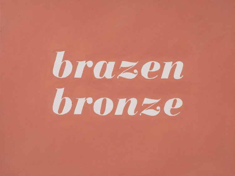 L'Oreal No.834: Brazen Bronze (2014); artwork by Karen Mainenti; oil on canvas; 15x19 inches framed