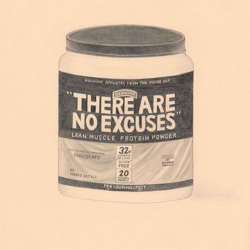 """""""There Are No Excuses"""" Protein Powder by Mario Batali, Chef (Muscle Milk); 2018; artwork by Karen Mainenti; graphite on paper; 33.25x27 inches framed"""