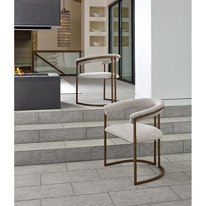 Arya Modern Classic White Upholstered Metal Dining Arm Chair - KK