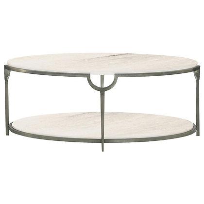 Laci Hollywood Regency Silver Marble Oval Coffee Table - KK