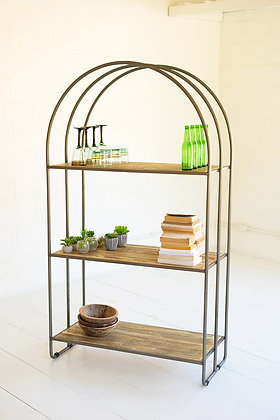 Tall Recycled Wood Shelving Unit With Arched Metal Frame - KAL